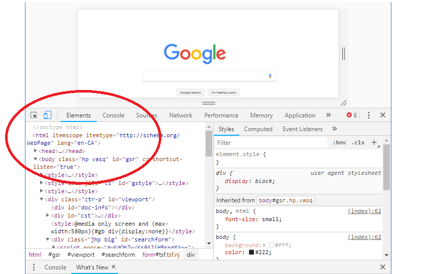 DOM in Chrome DevTools