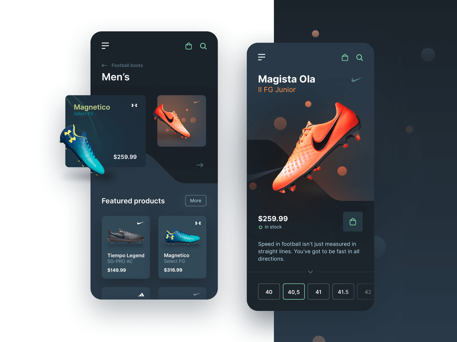 Football Boots Dark Mode UI